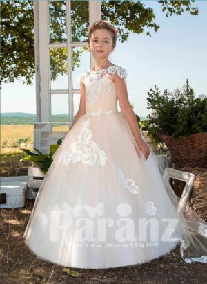 Beautiful satin-sheer tulle skirt dress with floral cap sleeve
