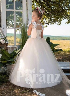 Beautiful satin-sheer tulle skirt dress with floral cap sleeve side view