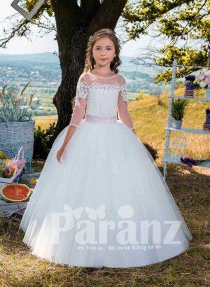 Beautiful sheer sleeve white tulle skirt dress with appliquéd satin bodice