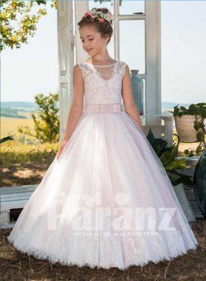 Beautiful soft satin-sheer sleeveless tulle skirt dress in light pink and white