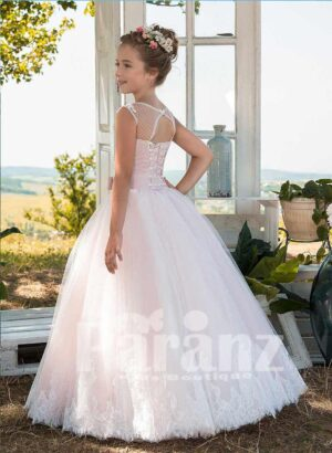 Beautiful soft satin-sheer sleeveless tulle skirt dress in light pink and white side view