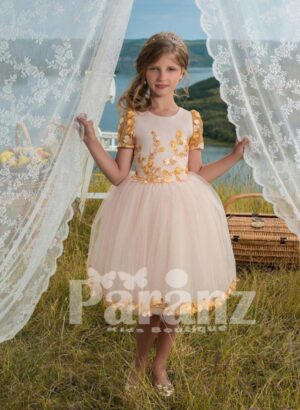 Beautiful white short gown dress with tulle skirt and yellow flower embroidery