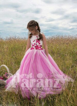 Bi-color tulle skirt dress with flower embroidery bodice