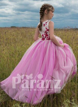 Bi-color tulle skirt dress with flower embroidery bodice side view