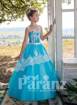 Blue-white soft tulle skirt dress with sheer-lace overskirt