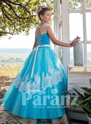 Blue-white soft tulle skirt dress with sheer-lace overskirt side view