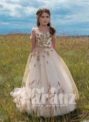 CREAMY LIGHT BROWN-WHITE GOWN DRESS WITH BEIGE GOLDEN FEATHER EMBROIDERY