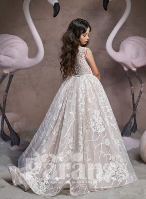 Disney inspired princess dress with major appliqués all over and designer bodice back side view