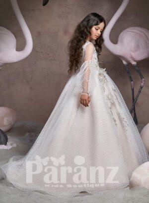 Disney princess inspired major flower appliqués floor length tulle skirt dress side view