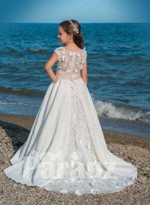 Elegant dobby long gown with flower appliquéd mid belt and tulle underneath skirt side view