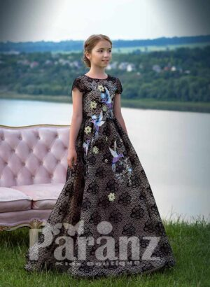 Elegant long black satin gown with all over sequin work and flower-bird embroidery