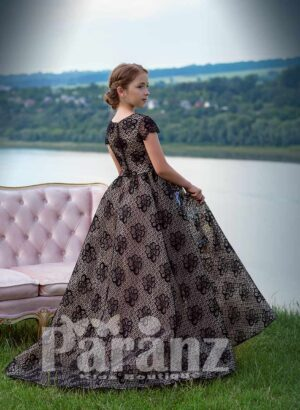 Elegant long black satin gown with all over sequin work and flower-bird embroidery side view