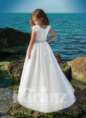 Elegant long white all over sequin and pearl design soft tulle skirt dress with royal bodice side view