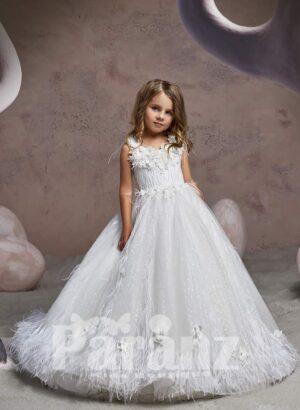 Elegant ruffle hem long tulle skirt dress with soft bodice and flower appliquéd neckline