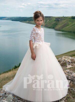 Elegant sheer bodice long white tulle skirt dress for girls