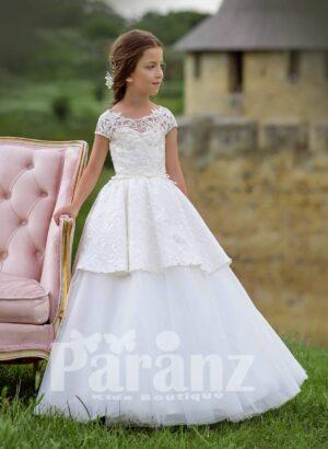 Elegant tulle skirt dress with rich satin over skirt and designer bodice