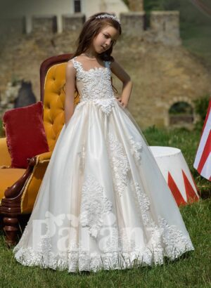 Rich satin gown with white spring flower appliquéd all over