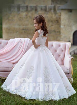 Elegant white high volume tulle skirt dress with major appliqué works all over side view