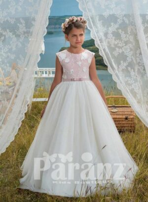 Exclusive white tulle skirt dress with white appliquéd bodice