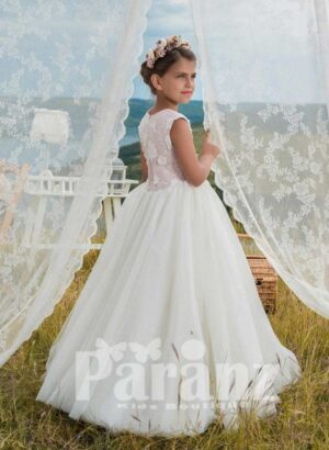Exclusive white tulle skirt dress with white appliquéd bodice side view