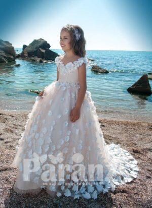 Fairy princess long tulle skirt dress with all over flower appliquéd