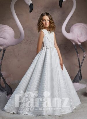 Floor length dobby gown dress with tulle underneath skirt and stylish bodice