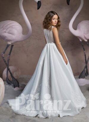 Floor length dobby gown dress with tulle underneath skirt and stylish bodice back side view