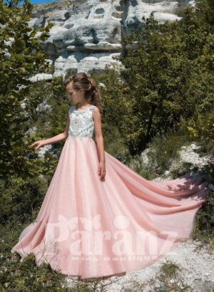 Glam summer party dress with long pink tulle skirt