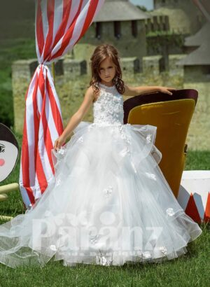 High volume multi-layer tulle skirt dress with flower appliquéd and pearl studded bodice