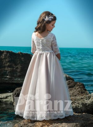Light metal pink satin-sheer dress with long tulle skirt and appliquéd bodice side view
