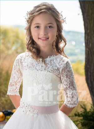 Long sleeve satin-lace flower bodice with long white tulle skirt dress for girls