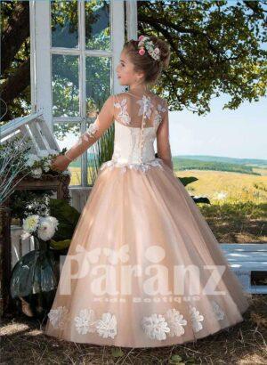 Long sleeve satin-sheer appliquéd bodice and beige tulle skirt dress side view