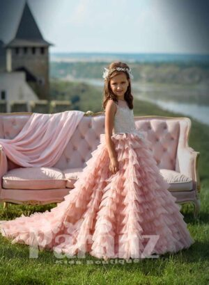 Long trail multi-layered pink tulle cloud skirt with pearl studded satin-sheer appliquéd bodice