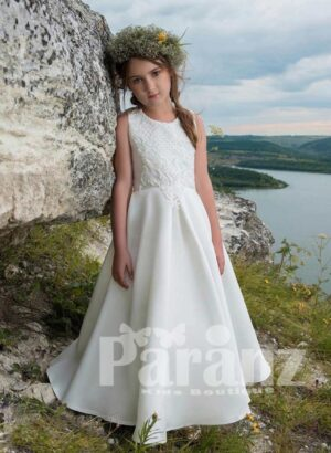 Long white tulle skirt dress with lace overlay and beaded embroidered appliqués bodice