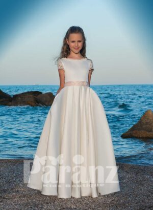 Magical soft and smooth satin gown with tulle underneath skirt and beige mid belt