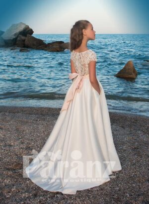 Magical soft and smooth satin gown with tulle underneath skirt and beige mid belt side view