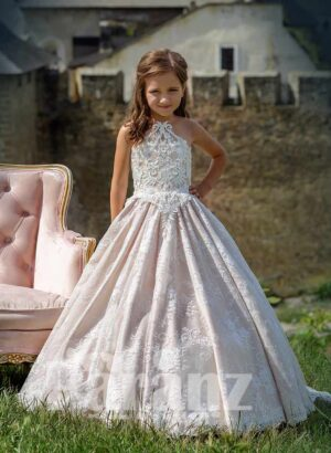 Metal pink rich satin gown with all over flower appliquéd and tulle underneath skirt