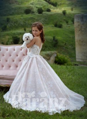 Metal pink rich satin gown with all over flower appliquéd and tulle underneath skirt side view