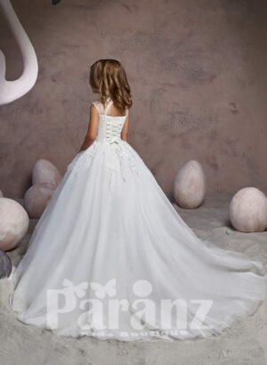 Milk-white long organza skirt dress with royal appliquéd bodice back side view