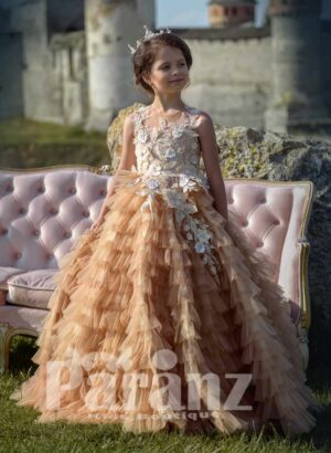Multi-layer beige tulle long trail cloud skirt with major glitz white appliqué on the bodice