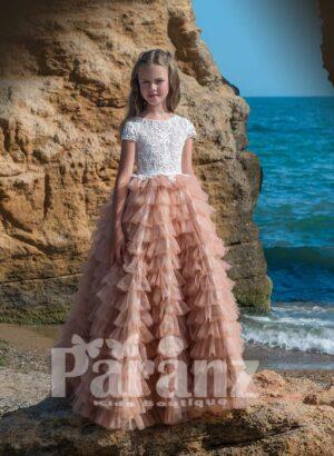 Multi-layer long cloud tulle skirt with elegant satin-sheer appliquéd bodice