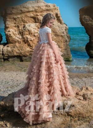 Multi-layer long cloud tulle skirt with elegant satin-sheer appliquéd bodice side view