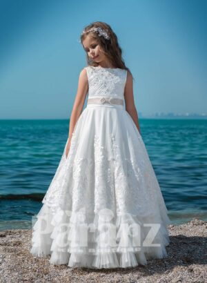 Multi layer long cloud tulle skirt with satin overskirt and designer bodice