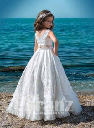 Multi layer long cloud tulle skirt with satin overskirt and designer bodice side view