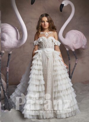 Multi-layer tulle cloud skirt dress with stylish appliquéd bodice