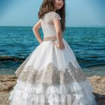 Multi layer tulle cloud skirt with designer satin overskirt and rich satin-sheer bodice side view