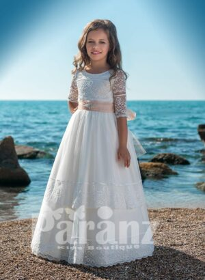 Multi-layer tulle skirt dress with beautiful satin-lace appliquéd bodice