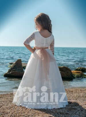 Multi-layer tulle skirt dress with beautiful satin-lace appliquéd bodice back side view
