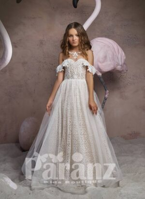 Off-shoulder styled printed satin gown with long tulle skirt