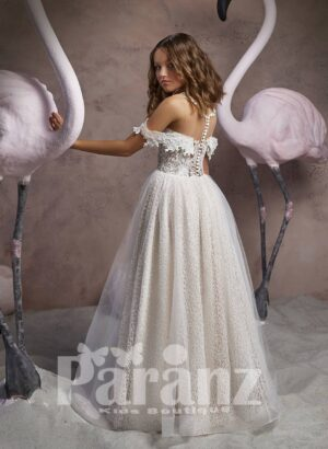 Off-shoulder styled printed satin gown with long tulle skirt side view